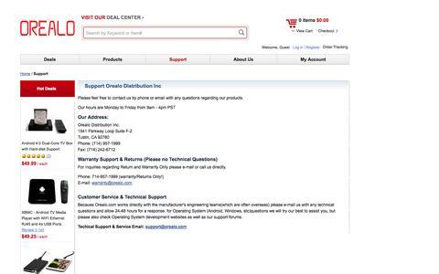 Screenshot of Support Page orealo.com - Orealo Distribution Inc. Support Orealo Distribution Inc Orealo Distribution Inc. - captured Oct. 7, 2014