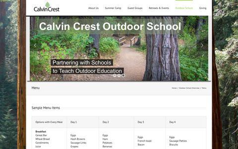 Screenshot of Menu Page calvincrest.com - Menu – Calvin Crest - captured Nov. 9, 2018
