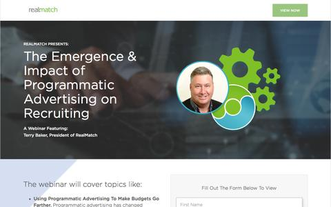 Screenshot of Landing Page realmatch.com - RealMatch | The Emergence & Impact of Programmatic Advertising on Recruiting Webinar - captured Aug. 20, 2016