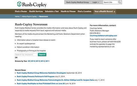 Screenshot of Press Page rushcopley.com - Newsroom - Rush-Copley Medical Center - captured Oct. 9, 2014