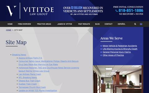 Screenshot of Site Map Page vititoelawgroup.com - Site Map | Vititoe Law Group | Westlake Village, California - captured Feb. 25, 2016