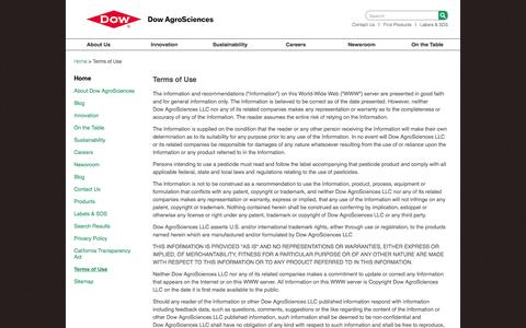 Screenshot of Terms Page dowagro.com - Terms of Use | Dow AgroSciences - captured Nov. 24, 2016