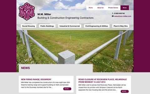 Screenshot of Press Page mm-miller.com - News · M.M. Miller · Wick, Inverness, Highlands - captured Sept. 30, 2014