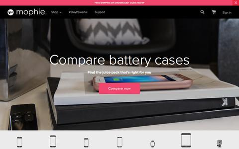 Screenshot of Home Page mophie.com - mophie Battery Phone Cases & More - Free Shipping | mophie - captured Feb. 11, 2016