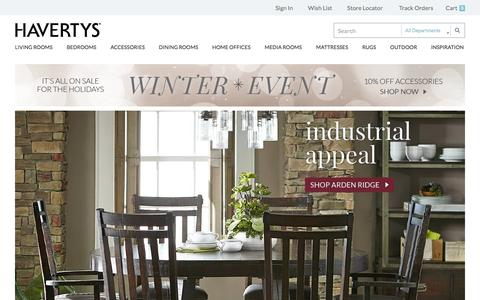 Screenshot of Home Page havertys.com - Welcome to Havertys - captured Dec. 8, 2015