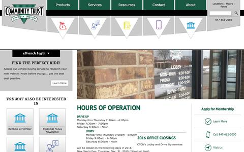 Screenshot of Hours Page ctcu.org - Hours of Operation - Community Trust Credit Union - captured Nov. 10, 2016