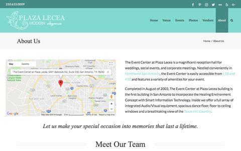 Screenshot of About Page plazalecea.com - About Us - Plaza Lecea - captured July 13, 2018