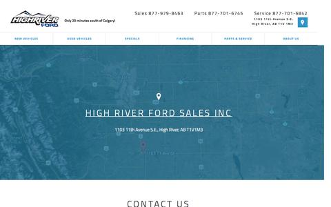 Screenshot of About Page Contact Page Maps & Directions Page highriverford.com - Dealership Information | High River Ford Sales Inc - captured Jan. 30, 2017