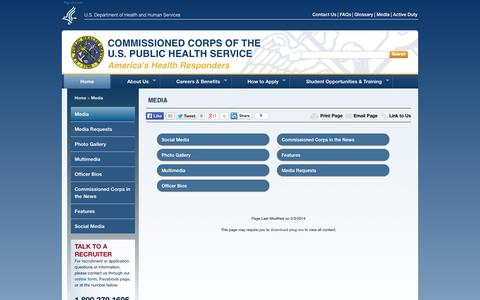Screenshot of Press Page usphs.gov captured Sept. 19, 2014