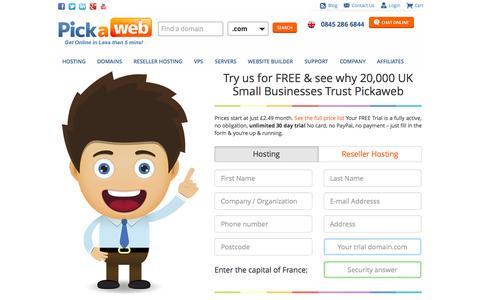 Screenshot of Trial Page pickaweb.co.uk - UK Web Hosting Free Trial - captured Sept. 25, 2014