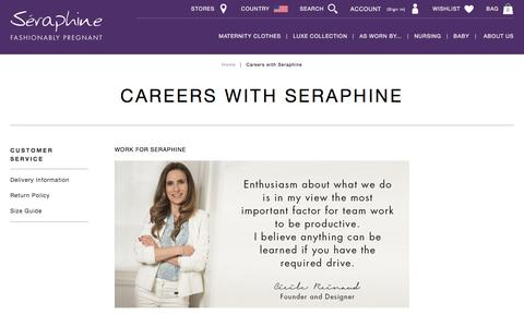 Screenshot of Jobs Page seraphine.com - Careers with Seraphine | Seraphine US - captured Sept. 6, 2016
