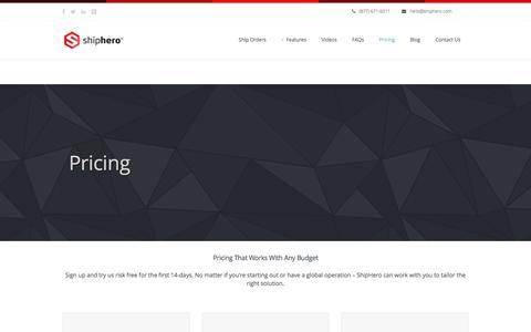 Screenshot of Pricing Page shiphero.com - ShipHero Mobile Warehouse Management System  » Pricing - captured Jan. 13, 2016