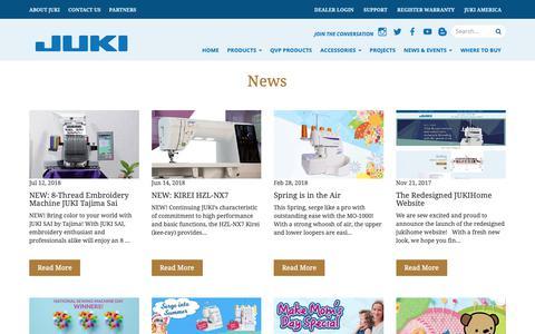 Screenshot of Press Page jukihome.com - Juki Quilting Machines   JukiQuilting.com - captured Oct. 14, 2018
