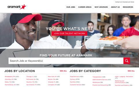Screenshot of Jobs Page aramark.com - Our Jobs | Careers | Aramark - captured Sept. 8, 2018
