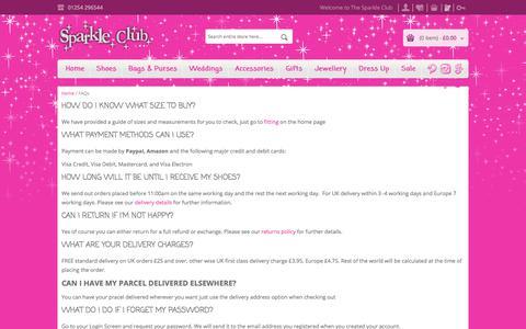 Screenshot of FAQ Page thesparkleclub.co.uk - FAQs - captured Nov. 20, 2017