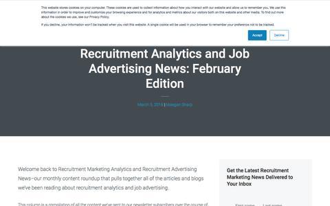 Screenshot of Jobs Page recruitics.com - Recruitment Analytics and Job Advertising News: February Edition - captured Jan. 8, 2020