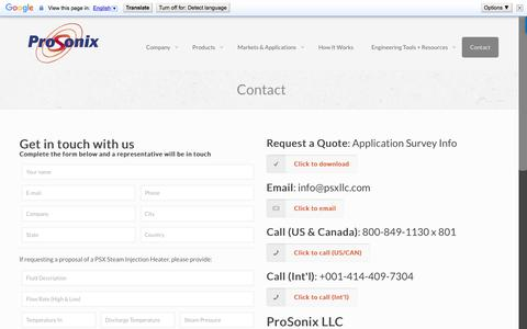 Screenshot of Contact Page pro-sonix.com - Steam Heating Experts | Process Heating Experts - Contact Us - captured Sept. 4, 2017