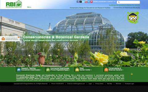 Screenshot of Home Page Menu Page roughbros.com - Commercial Greenhouse Design & Specifications By Rough Brothers Inc - captured Sept. 25, 2014