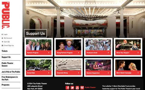 Screenshot of Support Page publictheater.org - Support Us - captured Sept. 23, 2014