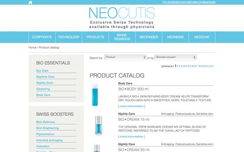 Screenshot of Products Page neocutis.com - Neocutis - captured Sept. 30, 2014