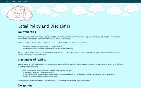 Screenshot of Terms Page empressandogre.com - Contact Us | Empress & Ogre - captured Oct. 2, 2014