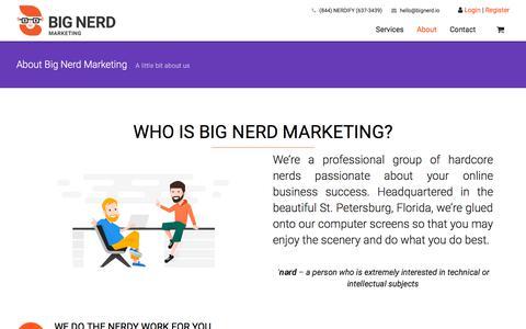 Screenshot of About Page bignerd.io - About Big Nerd Marketing - www.bignerd.io - captured July 11, 2018