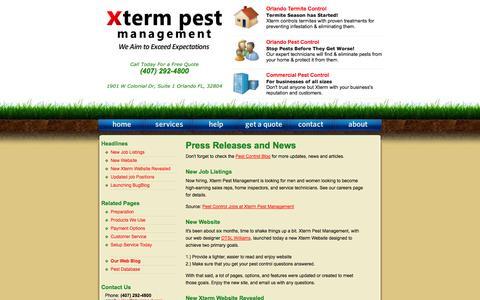 Screenshot of Press Page xtermpest.com - Orlando Pest Control / Xterm Pest Management / News and Updates - captured Oct. 27, 2014