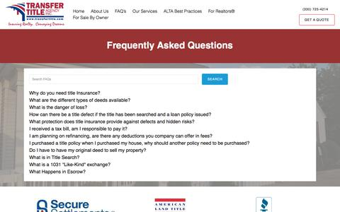 Screenshot of FAQ Page transfertitle.com - Frequently Asked Questions – Transfer Title Agency - captured Nov. 9, 2017
