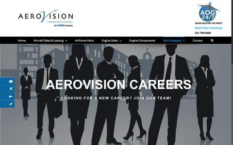 Screenshot of Jobs Page aerovi.com - Careers - AeroVision International - captured Oct. 7, 2017
