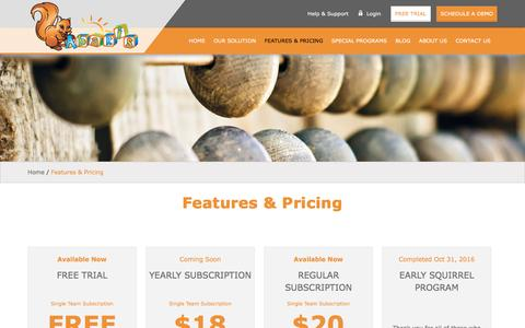 Screenshot of Signup Page myabakis.com - Features & Pricing | My Abakis - captured Nov. 19, 2016