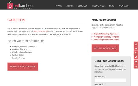 Screenshot of Jobs Page redbamboomarketing.com - Marketing Careers in Red Bank NJ | Red Bamboo Marketing - captured Nov. 21, 2017