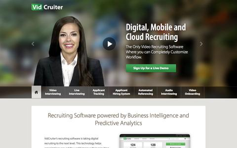 Screenshot of Home Page vidcruiter.com - Video Recruiting and Video Recruiting Software - VidCruiter - captured Sept. 23, 2014
