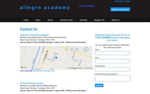 Screenshot of Locations Page allegro-academy.com - Locations - captured Oct. 4, 2014