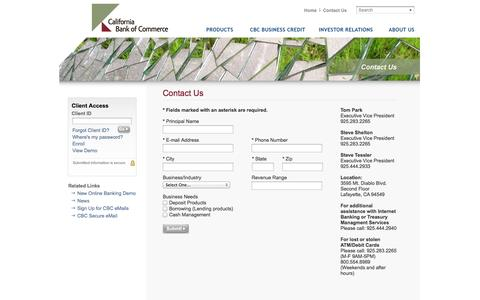 Screenshot of Contact Page californiabankofcommerce.com - Contact California Bank of Commerce - captured Sept. 27, 2014