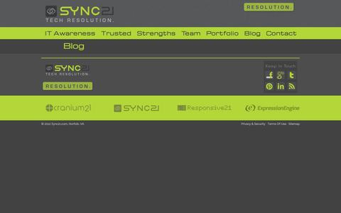 Screenshot of Blog sync21.com - Sync21.com | Tech Resolution. - captured Sept. 30, 2014