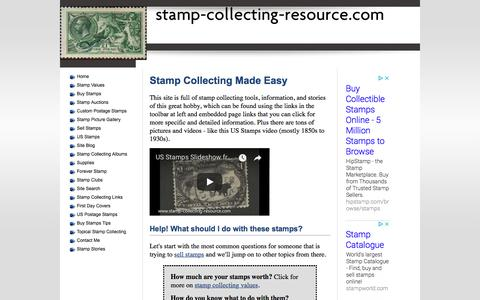 Screenshot of Home Page stamp-collecting-resource.com - Stamp Collecting Resource: How to value, collect, and sell stamps. - captured Sept. 22, 2018