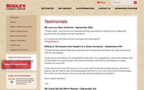 Screenshot of Testimonials Page seigles.com - Testimonials | Seigles Cabinet Center - captured Oct. 1, 2018