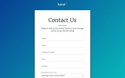 Screenshot of Contact Page karat.io - Karat^ | We make interviews work. | Contact Us - captured Nov. 7, 2016