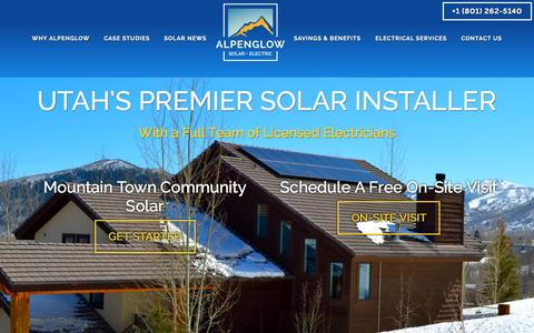 Screenshot of Home Page alpenglowsolar.com - Alpenglow Solar and Electric — Solar Panels, Utah - - captured July 25, 2016