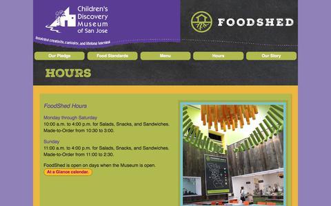 Screenshot of Hours Page cdm.org - FoodShed: Hours - captured Sept. 23, 2018