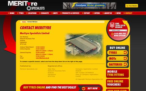 Screenshot of Contact Page merityre.co.uk - Contact details of Merityre - captured Oct. 27, 2014