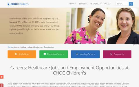 Screenshot of Jobs Page choc.org - Careers: Healthcare Jobs and Employment Opportunities at CHOC Children's - captured Feb. 18, 2018