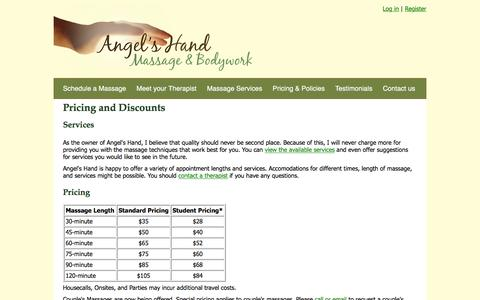 Screenshot of Pricing Page angelshand.net - Pricing and Discounts - Angel's Hand Massage & Bodywork - captured Feb. 6, 2016