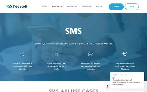 Screenshot of Products Page wavecell.com - SMS API & Campaign Manager | Send Bulk SMS Online | Wavecell - captured Nov. 7, 2018