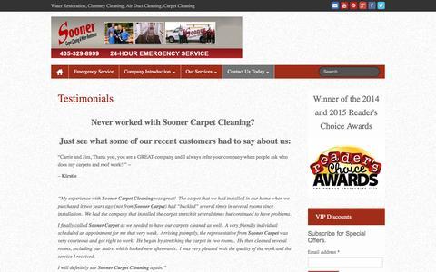 Screenshot of Testimonials Page soonercarpetcleaning.com - Testimonials | Sooner Carpet Cleaning | - captured Feb. 25, 2016