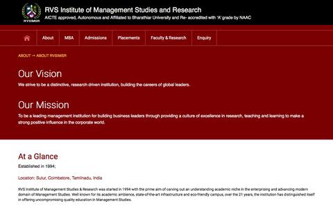 Screenshot of About Page rvsimsr.ac.in - RVS Institute of management studies and research - captured Feb. 15, 2016