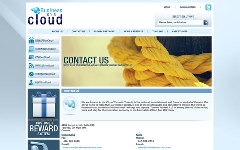 Screenshot of Contact Page businessonacloud.com - CONTACT US - Business on a Cloud - captured Sept. 30, 2014