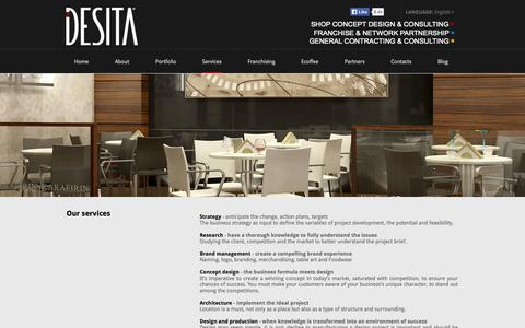 Screenshot of Services Page desita.it - Brand Management, Shop Concept Design, Horeca & Hospitality, Franchising | Desita Srl - captured Oct. 29, 2014