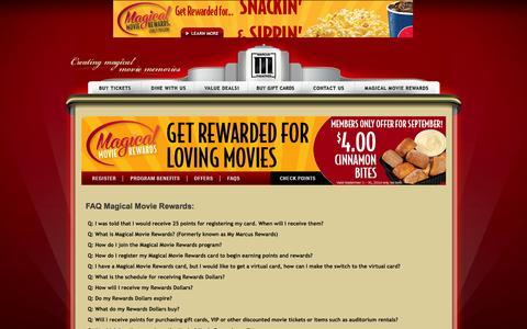 Screenshot of FAQ Page marcustheatres.com - Marcus Theatres - Marcus Theatres - captured Sept. 19, 2014