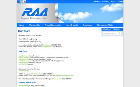 Screenshot of Team Page raa.org - Our Team - Regional Airline Association - captured Feb. 18, 2016